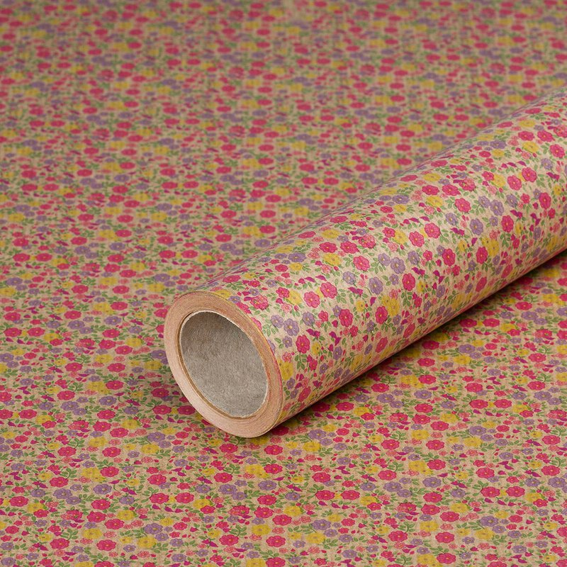 Gift wrapping paper Blossoms, kraft paper, ribbed, 60 g/m² - 1 roll 0.70 x 10 m
