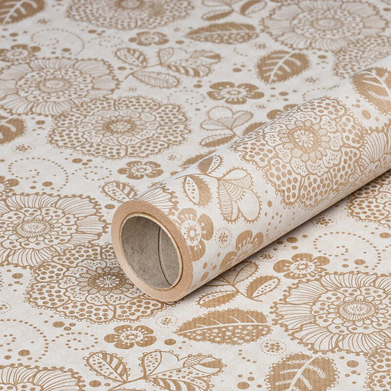 Gift wrapping paper »Flower Fantasy« brown-beige, kraft paper, ribbed, 60 g/m² - 1 roll 0.70 x 10 m