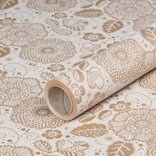 Gift wrapping paper »Flower Fantasy« brown-beige, kraft...