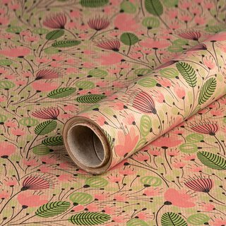 Gift wrapping paper Leaves and umbels, kraft paper,...