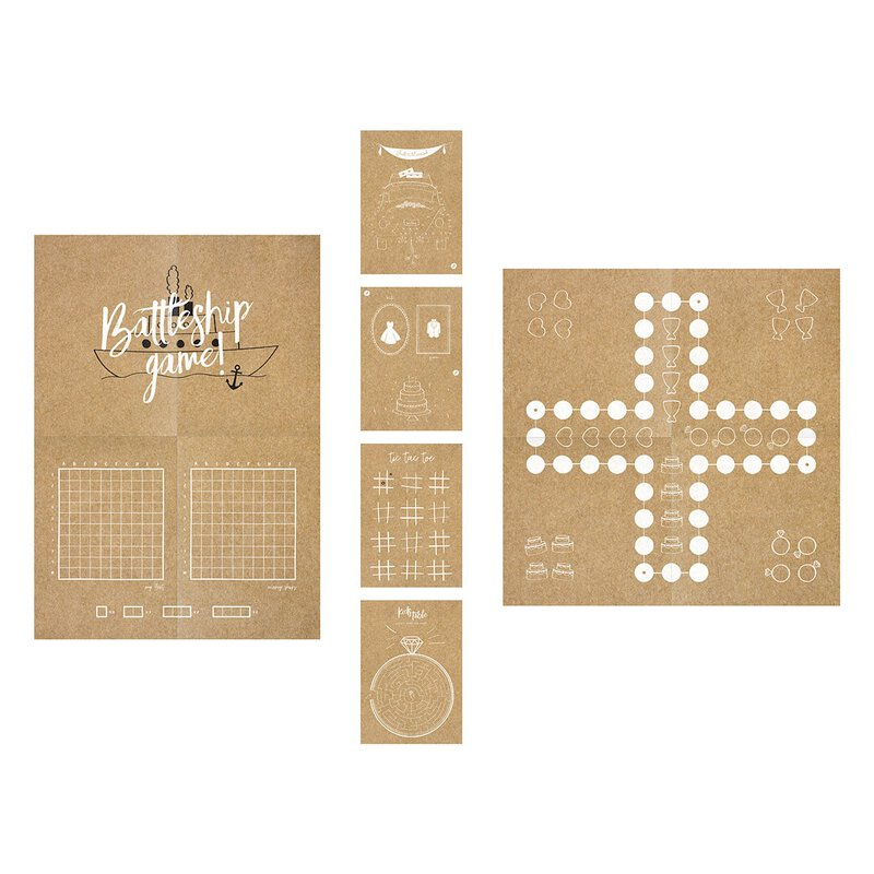 Play set for children, with figures, dice, game instructions, kraft paper, various games