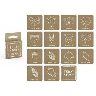 Memory game WOODLAND for children, Kraft cardboard, white...
