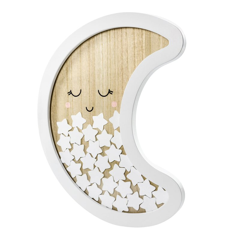 Guestbook: Moon and stars, birth, birthday, baptism, wood, white - 30 parts