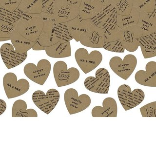 Vintage heart confetti for wedding and party, kraft paper