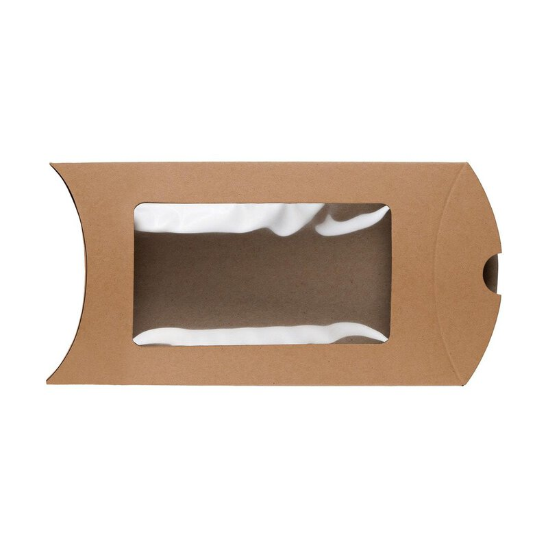 Pillow Box C6 window, 162 x 114 mm, cardboard, beige, Manila Kraft