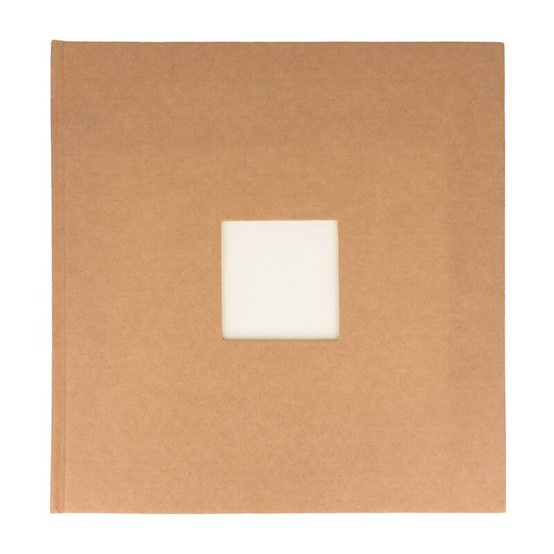 Guestbook with window, 24,5 x 23,5 cm hard cover, 32 sheets cream-coloured, unprinted, thread-stitching, adhesive binding