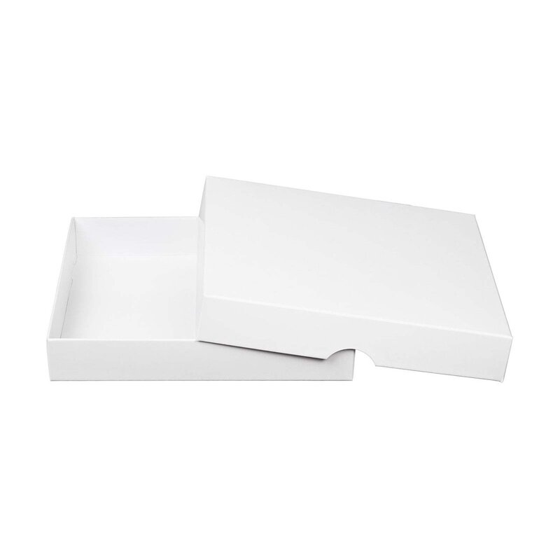 10 x White Box, 156 x 156 mm, white,  with lid, premium cardboard