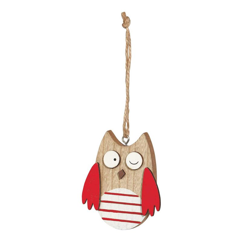 Wooden tag owl red, 6 x 8 cm, wood with jute cord