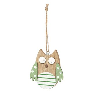 Wooden tag owl green, 6 x 8 cm, wood with jute cord