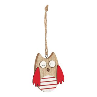 Wooden tags owl red, set 6 pieces, 2,7 x 3,4 cm, wood...
