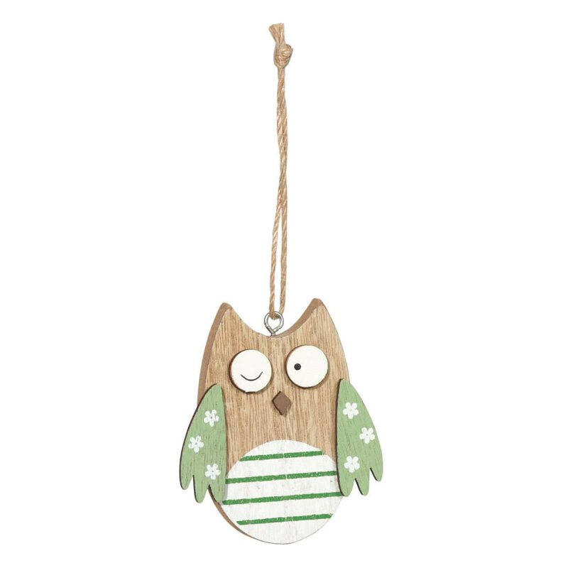 Wooden tags owl green, set 6 pieces, 2,7 x 3,4 cm, wood with jute cord