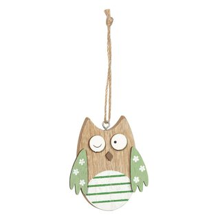 Wooden tags owl green, set 6 pieces, 2,7 x 3,4 cm, wood...