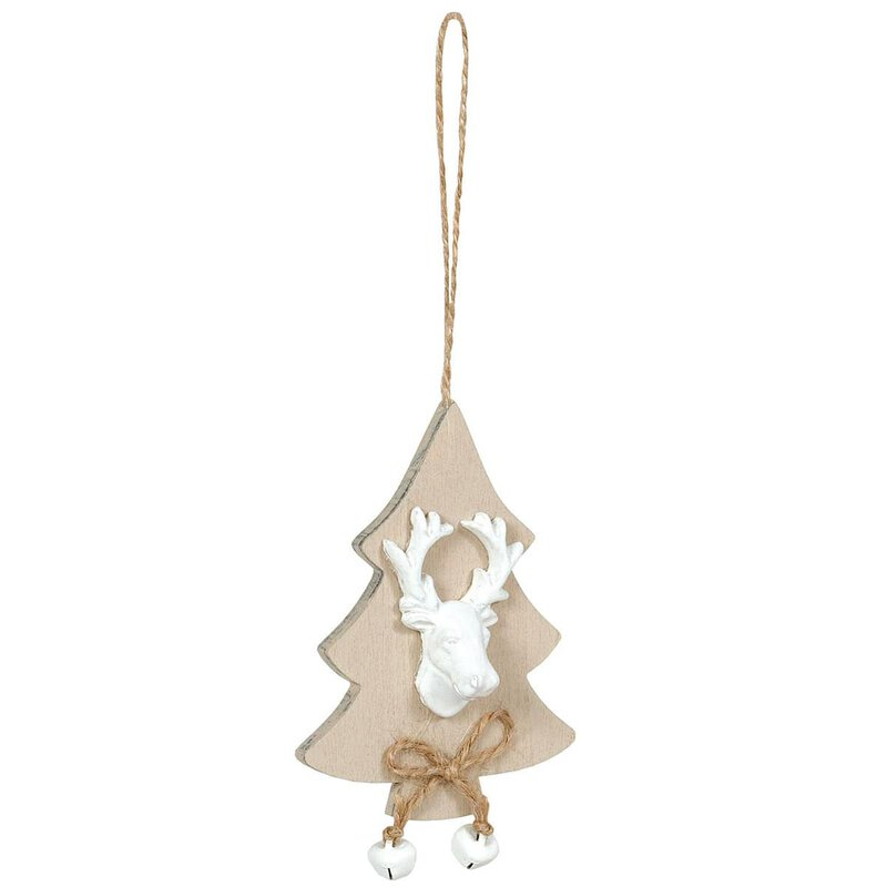 Wooden tag fir tree with stag, 7,5 x 10 cm, wood with jute cord