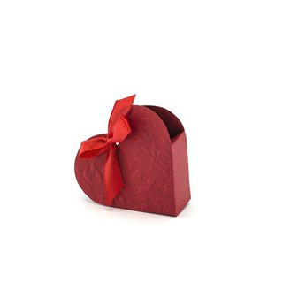 10 red gift boxes Heart with satin ribbon for guest gifts