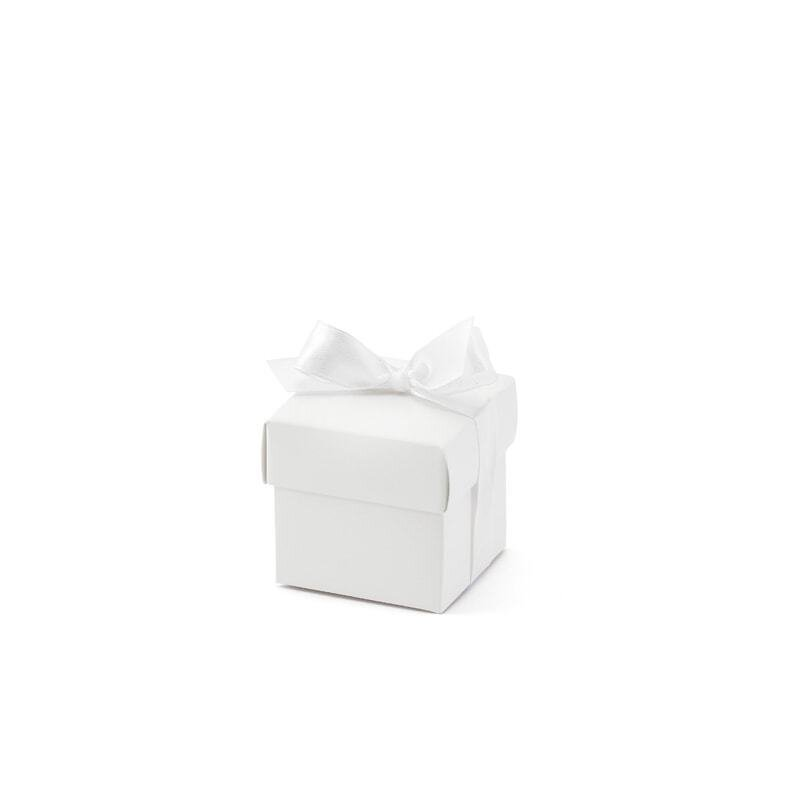 10 Miniboxes White with slip lid and satin ribbon for presents