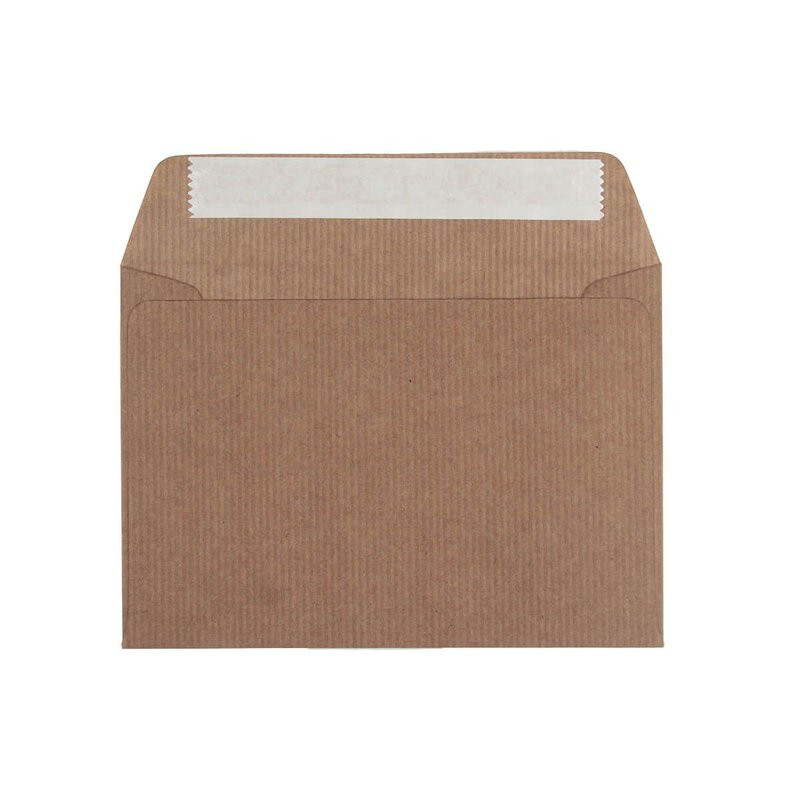 Envelope C6, 114 x 162 mm, ribbed, brown, kraft paper 100 g/m², peel and seal - pack of 25