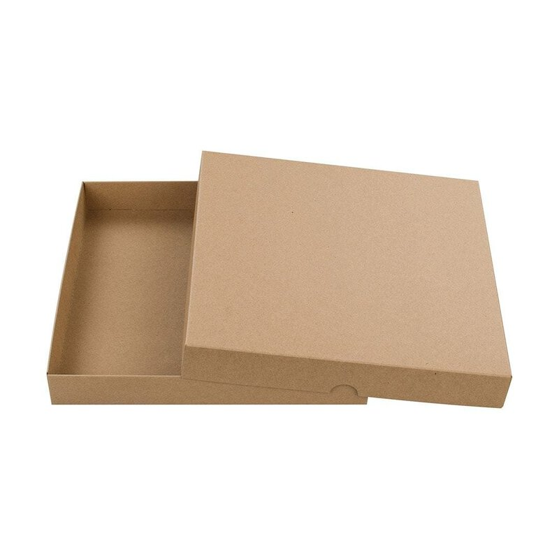 Brown Folding Box, 22 x 22 cm, lid, kraft cardboard - 10 pcs/pack