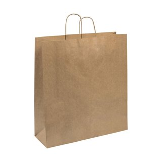 Paper carrier bag 45 x 49 x 15 cm, brown, ribbed,...