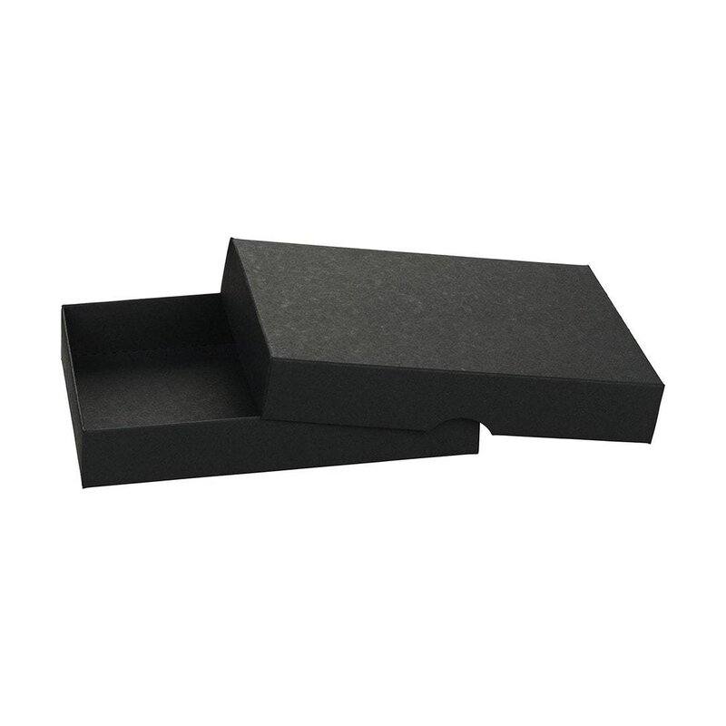 Folding box 11,5 x 15,5 x 2,5 cm, black, recycled cardboard, with lid - 10 boxes/set