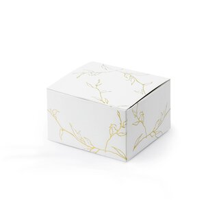 10 x box 6 x 5,5 x 3,5 cm with gold embossing, twigs