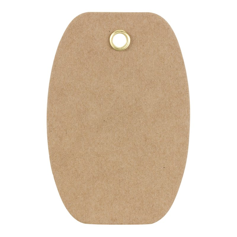 Hang tag 01 oval label 70 x 45 mm, kraft cardboard, eyelet
