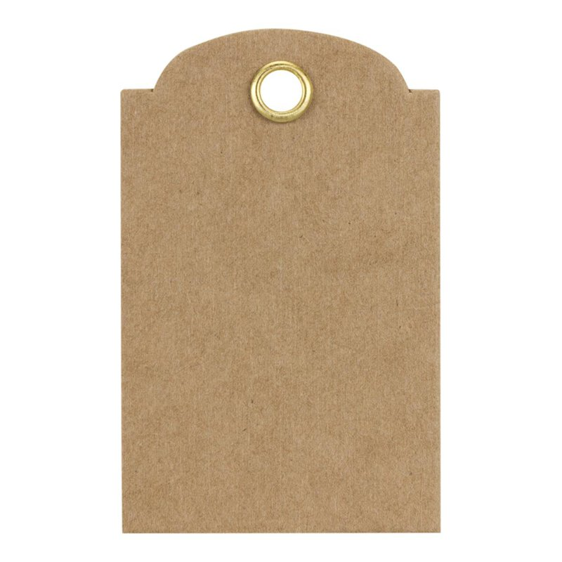 Hang tag 11, rect., label 55 x 35 mm, kraft cardboard, eyelet