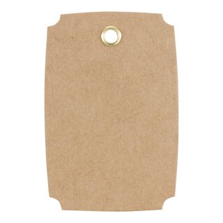 Hang tag 21, Label, 65 x 45 mm, kraft cardboard, eyelet