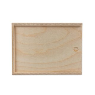 Wooden box with sliding lid, 155 x 112 x 25 mm, untreated