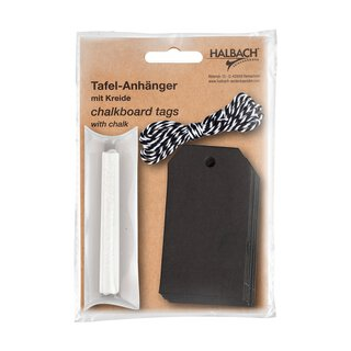 Black paper chalkboard tags with chalk and 2 m cord,...