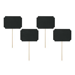 4 chalkboards on stick, 11 x 8 cm, black, free text field