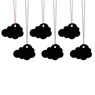 6 Gift tags Cloud, black, incl. bakers twine, cardboard