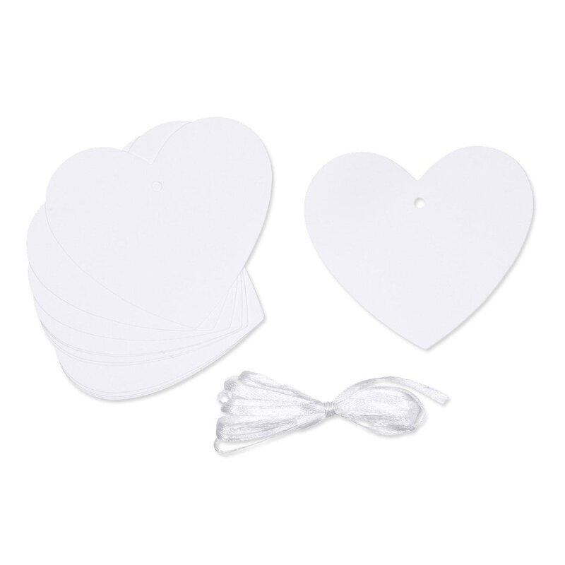 White hearts, 12 gift tag with satin ribbon