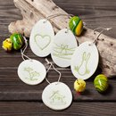 Cream Easter eggs tags made of felt with green embroidery
