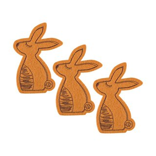 Easter bunnies, brown felt brown embroidery, 3 pcs....