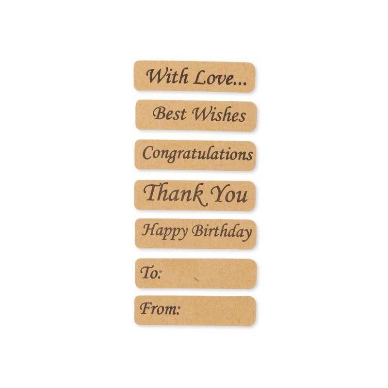 Sticker »With Love«, Kraft paper, Vintage Look, adhesive