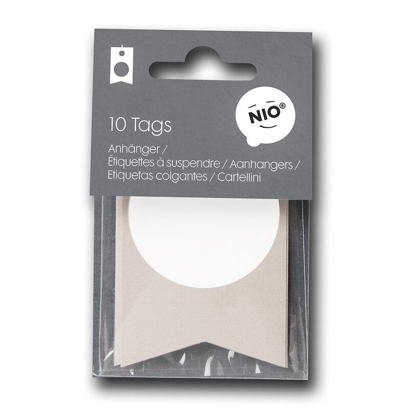 10 Hang tags NIO natural with white stamp field