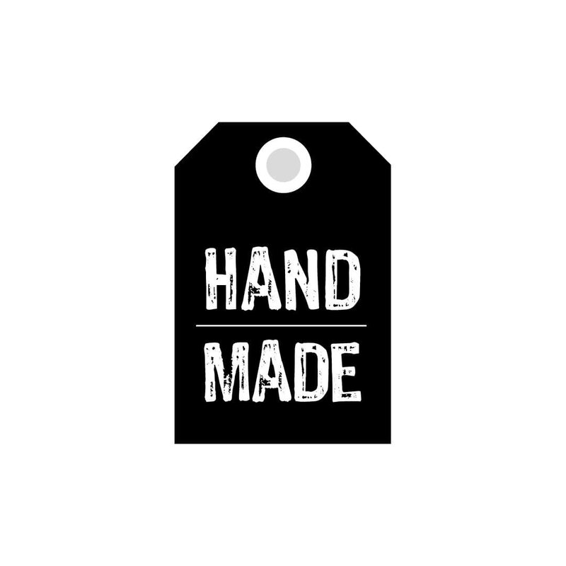 50 Hang tags »Hand made« gift tags, printed labels, black and white