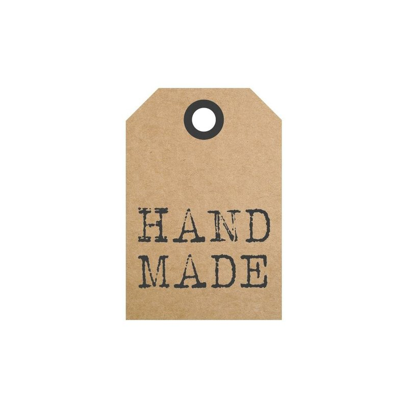 50 Hang Tags »Hand made«, bedruckte Etiketten 35 x 50 mm - braun