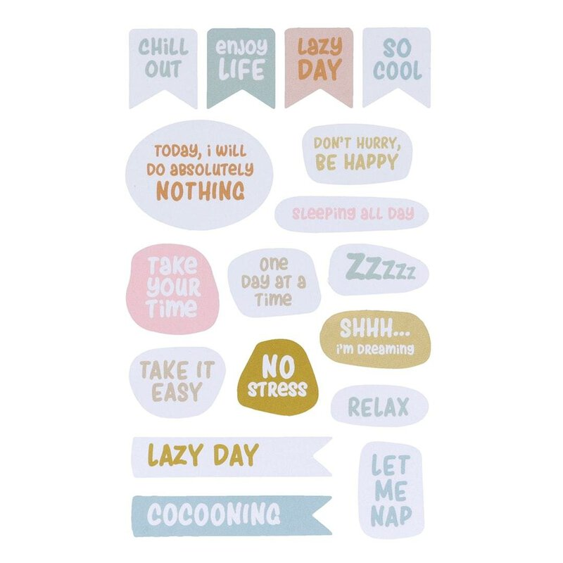 68 Sticker NO STRESS, 4 sheets, different shapes and sizes, self-adhesive