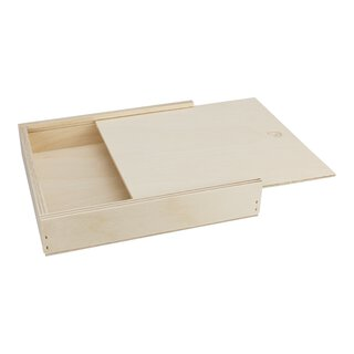 Wood box, 145 x 128 x 20 mm, with sliding lid