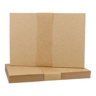 25 x A6 card, kraft cardboard 283 g/m², brown, unprinted