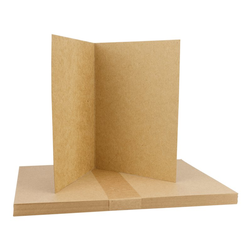 25 x Folding card A5, 283 g/m² Kraft cardboard, unprinted, brown