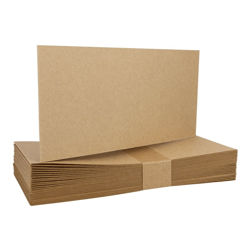 25 Folding cards DL landscape, kraft cardboard 225 g/m², unprinted