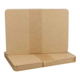 25 x A6 card, rounded, Kraft cardboard 283 g/m², brown,...