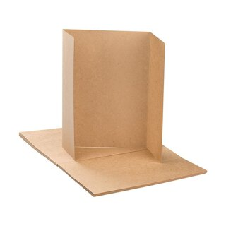 25 x folding card six-sided altar fold, kraft cardboard