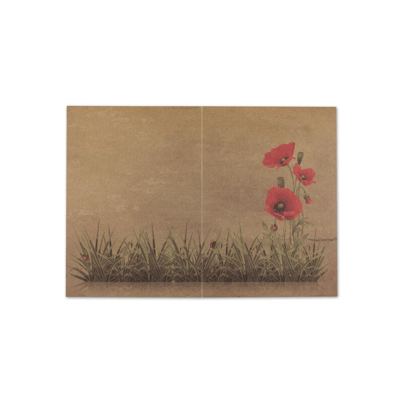 Greeting card Poppy four-color, A6, kraft cardboard