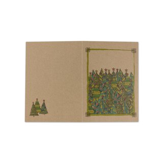 Christmas card fir trees, four-coloured, A6 folding card,...