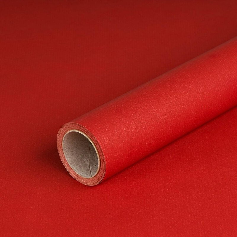 Gift wrapping paper red ribbed 0,7 x 10 m, Kraftpaper, roll