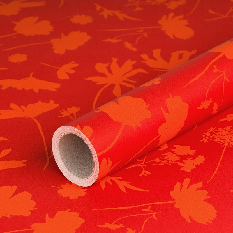 Wrapping paper Red Flowers 0,7 x 10 m, recycled paper