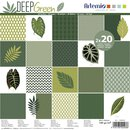 Scrapbooking Papier DEEP GREEN 30,5 x 30,5 cm, 2 x 20 Motive